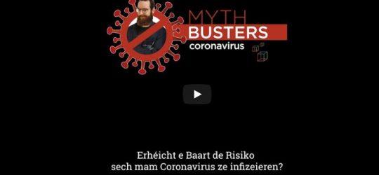 Luxembourg Science Center – Coronavirus Mythbusters: Erhéicht e Baart de Risiko sech mam Coronavirus ze infizeieren?