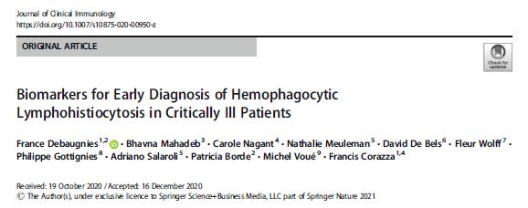 Nouvelle publication scientifique: Concentration de ferritine pour le diagnostic précoce de tempêtes cytokiniques